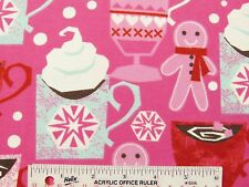 Winter Hot Cocoa Cookies Toss Hot Pink Girls Cotton Flannel Fabric  BTY  (J3) #