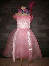 Superbe robe  CENDRILLON ROSE avec couronne de fleur - 5/6 ans - neuve