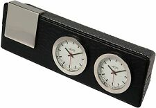 London Designs Black Faux Leather Desk Clock RRP £35 LESS THAN HALF PRICE