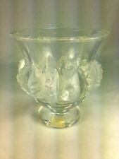 Elegant Lalique Crystal Dampierre Vase/Bowl Frosted Birds & Vines