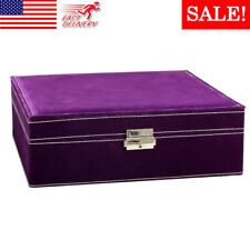 Two-Layer Jewelry Box Organizer Lint Jewelry Display Storage Case with Lock US