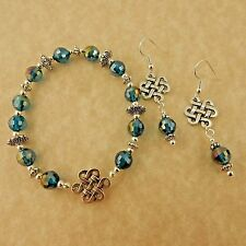 Silver Irish Celtic Knot Earring & Stretch bracelet set teal blue crystal beads