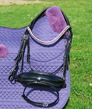 FSS Amethyst Plum Crystal Bling FREEWAY CUT AWAY Comfort MonoCrown PATENT Bridle