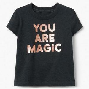 GYMBOREE Rising Stars You Are Magic Tee Shirt Top Dark Gray Girls 2T #1178 NWT