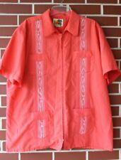 LN Haband Guayabera Original Mens Shirt XL Pink & White zip front Cuban casual