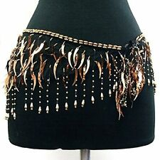 Belly Dance Lace Shiny Sequin Hip Scarf Belt Wrap -- Copper