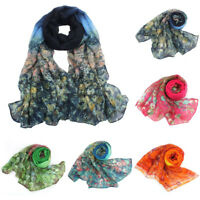 Women Flower-Printed Voile Scarves Long-Soft Neck Wraps Winter Warm Shawl Scarf
