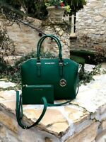 NWT MICHAEL KORS LARGE CIARA LEATHER SATCHEL/WALLET JEWEL GREEN GOLD 35H5GC6S3L