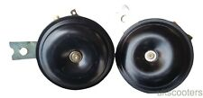 PAIR OF BLACK MOTORCYCLE CAR HORNS TWIN TONE 110DB 12V LOW HIGH TONE 1.5A
