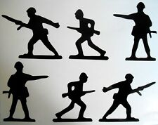 Set Of 6 Army Military Silhouettes Childrens Bedroom Playroom Wall Art Stickers