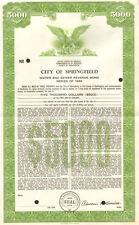 City of Springfield > 1966 Kentucky Lincoln Simms $5,000 sewer bond certificate