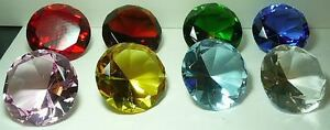 100 MM Cut Glass Diamond Paperweight Solid Leaded Glass only AMBER in stock now