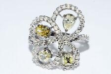 $12,000 2.00Ct Natural Fancy Light Yellow & White Diamond Ring 18K