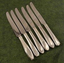 6 Vintage Mismatched Assorted Floral Dinner Knives Vintage Silverplate Lot J