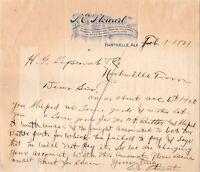 Vtg 1921 LE Stewart General Store, Hartselle Alabama Letterhead Receipt Letter