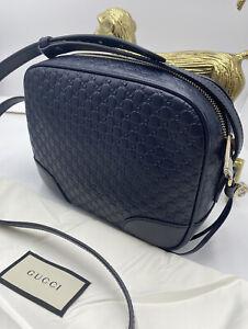 HOT!* Gucci Bree Guccissima Leather Disco Bag Midnight Blue Messenger Bag 449418