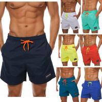 Men's Beach Board Shorts Swimwear Swim Trunks with Pockets Elastic Waist Nylon