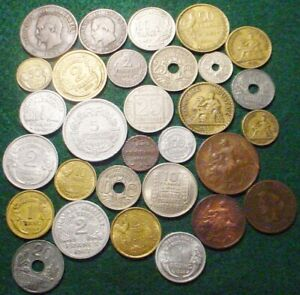 30 DIFFERENT FRANCE TYPE COINS 1848-1957 1 CENTIME-100 FRANCS-1800`s & 1900`s