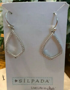 Silpada W2814 Sterling Silver Ace of Spades Micro pave' Cubic Zirconia Earrings