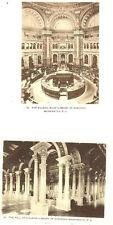 D.C. - WASHINGTON - 2 Vintage Views - Reading Room & Hall of Collumns 1898-1907
