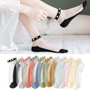 Breathable Thin Socks Transparent Lace with Pearl Cotton Mesh Nylon Ankle Socks