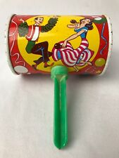 US Metal Toy Mfg Co Tin Toy Litho Noise Maker  USA New Years Can Rattle Vintage
