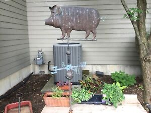 Vintage Large Copper Pig Weathervane - 2 Sided With Attached Ears & Tail