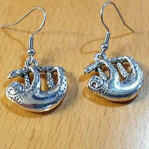 Hypoallergenic Surgical Steel Earrings with Sloth Charm Tibetan Silver