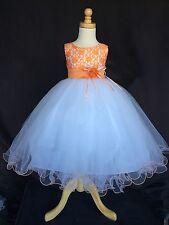Flower Girl Bridesmaids Summer Elegant Floral Lace Toddler Girl Dress #015