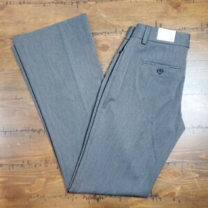 EXPRESS Editor Dress Pants Gray Luxury Stretch Low Rise Flare Leg Size 0 R