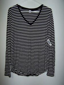NWT - Old Navy - Black & White Striped Long Sleeve V-Neck Shirt, Women's XL