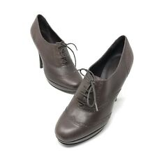 J Crew Womens Pierce Wingtip Oxford High Heel Brown Leather Shoes Italy Si 6.5