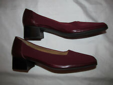 RANGONI FIRENZE burgundy red nylon fabric and leather block heel shoes 8 NEW