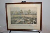 Antique Currier & Ives Print American National Game Of Baseball Framed Print