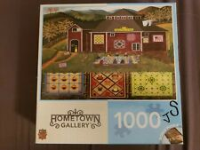 """Hometown Gallery 1000 Piece Puzzle """"Quilter's Barn"""" Art Poulin"""