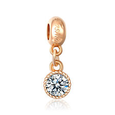 18K Gold plate CZ Round Pendant Dangle Charm Bead For Bracelet Necklace Chain