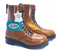 💥 Solovair Dr. Martens Doc England Tan Yellow Rub-off 11 Eye Boots UK 5 US 7 💥