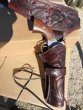 "Holster 357 / 38 caliber fits 38"" waist THICK tooled leather Western cowboy SALE"