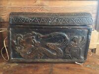 Vintage Ornate Carved Wood Trinket Box Dragon Design