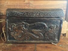 Vintage Ornate Carved Wood Trinket Box Dragon Design