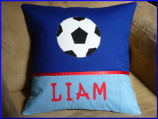 CHILD'S PERSONALISED NAME CUSHION COVER/NURSERY/SHOWER/GIFT  - SOCCER BALL -