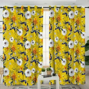 Paisley Yellow Floral Luxury Summer Window Living Room Bedroom Curtains Drapes
