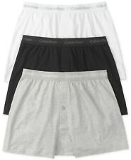 CALVIN KLEIN Men's Classic Knit Boxers 2-Pack WHITE AND BLACK SIZE XL
