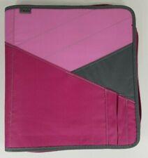 Mead pink gray zip around case 3-Ring binder 6 pocket file folder pen sections