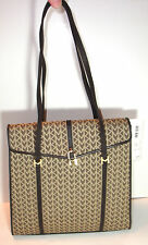 MKC Brown Khaki Leather & Canvas Shoulder Handbag - MSRP $595