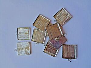 20 x Schmuckanhänger Quadrat Metall 25 x 25 mm silberfarben mit Wanne Epoxy 215