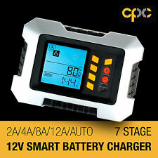 12V 7 stage 2A 4A 8A 12A smart charger LCD car auto boat battery Tester USB RV