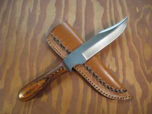 HANDMADE 1095 HI-CARBON STEEL HUNTING & FILE KNIFE FULL TANG Pakkawood Handle