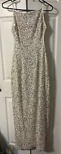 SCALA Beautiful Beaded Sequin Gown Dress Formal Prom Size 12-14 Large White