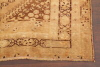 Vintage Geometric Gold-Washed Abadeh Oriental Area Rug Hand-Knotted WOOL 5'x9'